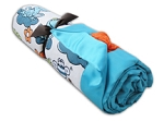 True Two Luxury Plush Minky Blanket - Froggy Turquoise with Poodle Orange